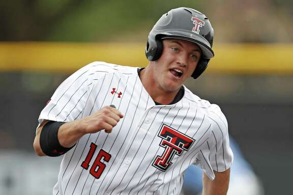 Texas Tech's Josh Jung (16) runs to third base during the game against San Diego on Tuesday in Lubbock.