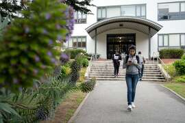Jessica Guizar, a freshman studying pre-nursing, walks on campus at SF State University in San Francisco, Calif. on Thursday, May 3, 2018. Author and nurse Deborah Lanza argues that public college nursing programs are excellent - but hard to get into.