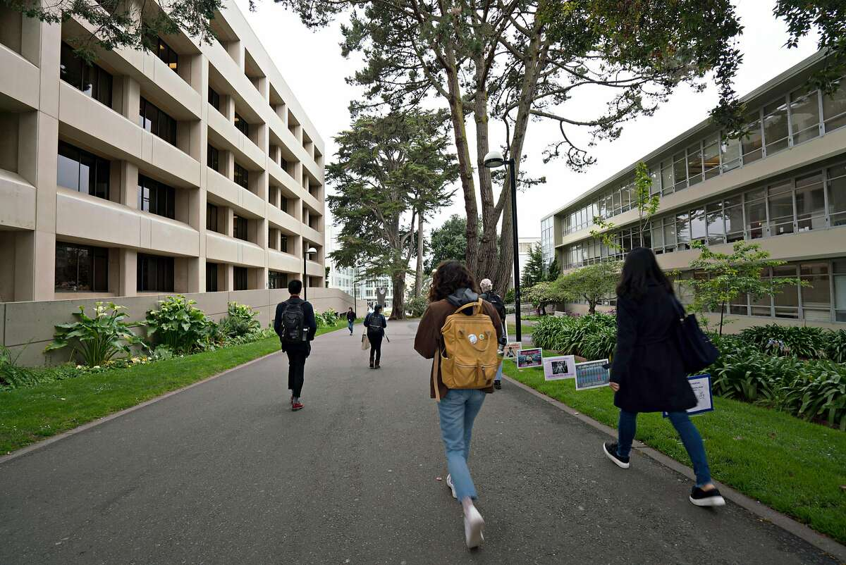Students walk to morning classes at SF State University in San Francisco, Calif. on Thursday, May 3, 2018.