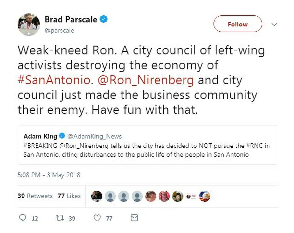 Weak-kneed Ron. A city council of left-wing activists destroying the economy of #SanAntonio. @Ron_Nirenberg and city council just made the business community their enemy. Have fun with that.