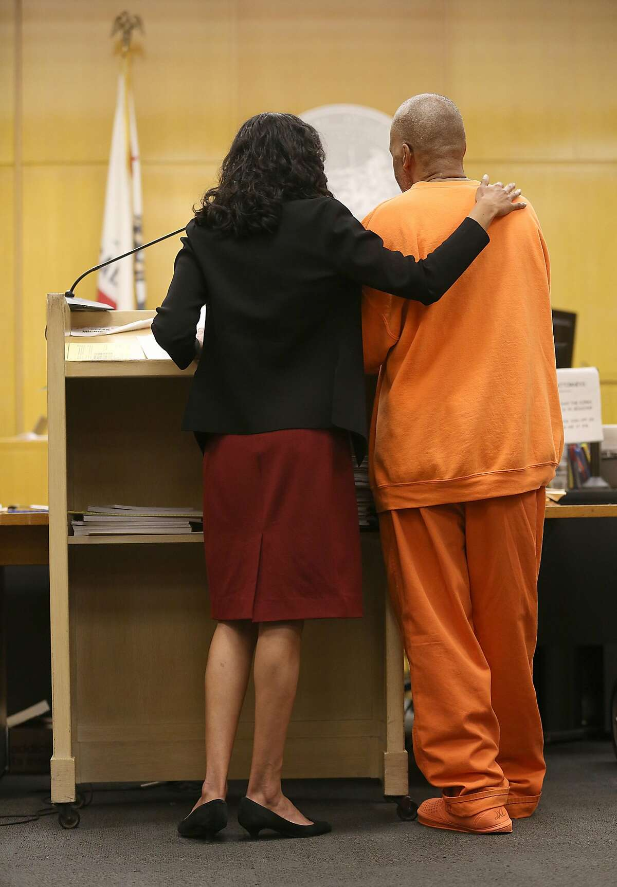 Deputy public defender Anita Nabha with robbery suspect Kenneth Humphrey as they appear in court to hear sentencing at the Hall of Justice on Thursday, May 3, 2018, in San Francisco, Calif. This case may determine the standard by which inmates can be held before trial.