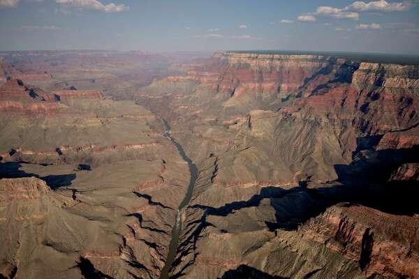 The Colorado River runs through Grand Canyon National Park in this aerial photograph.