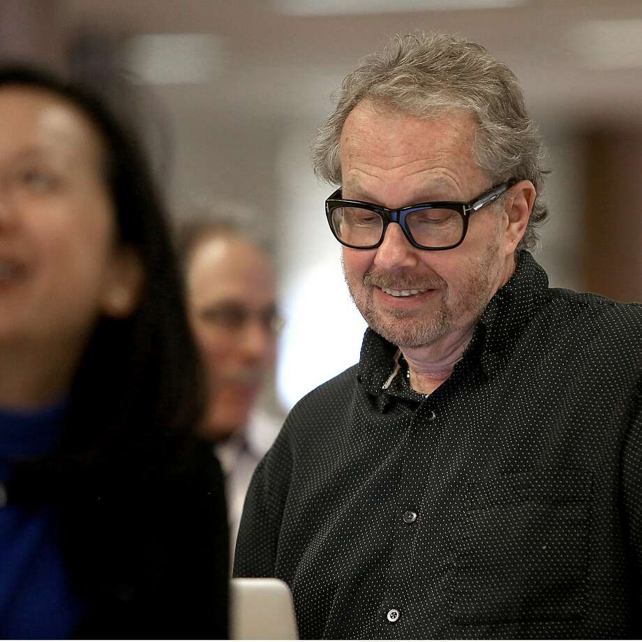 David Wiegand attends a 2015 newsroom meeting. Photo: Liz Hafalia / The Chronicle 2015