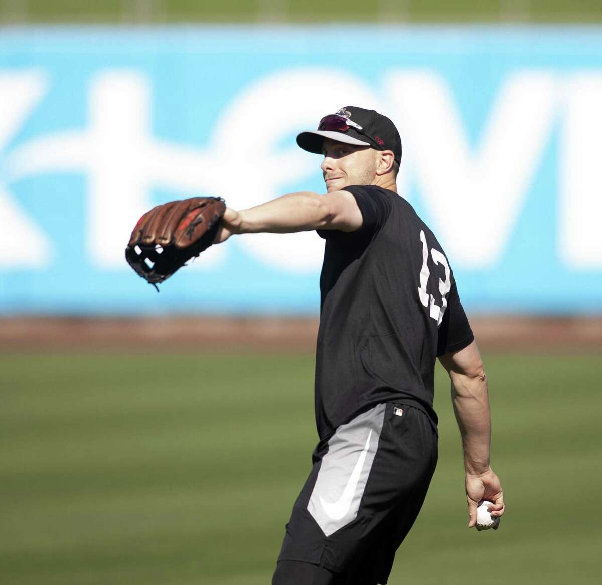 Sacramento River Cats' Austin Slater plays catch before a home game at Raley Field on Thursday, April 26, 2018 in Sacramento, Calif.