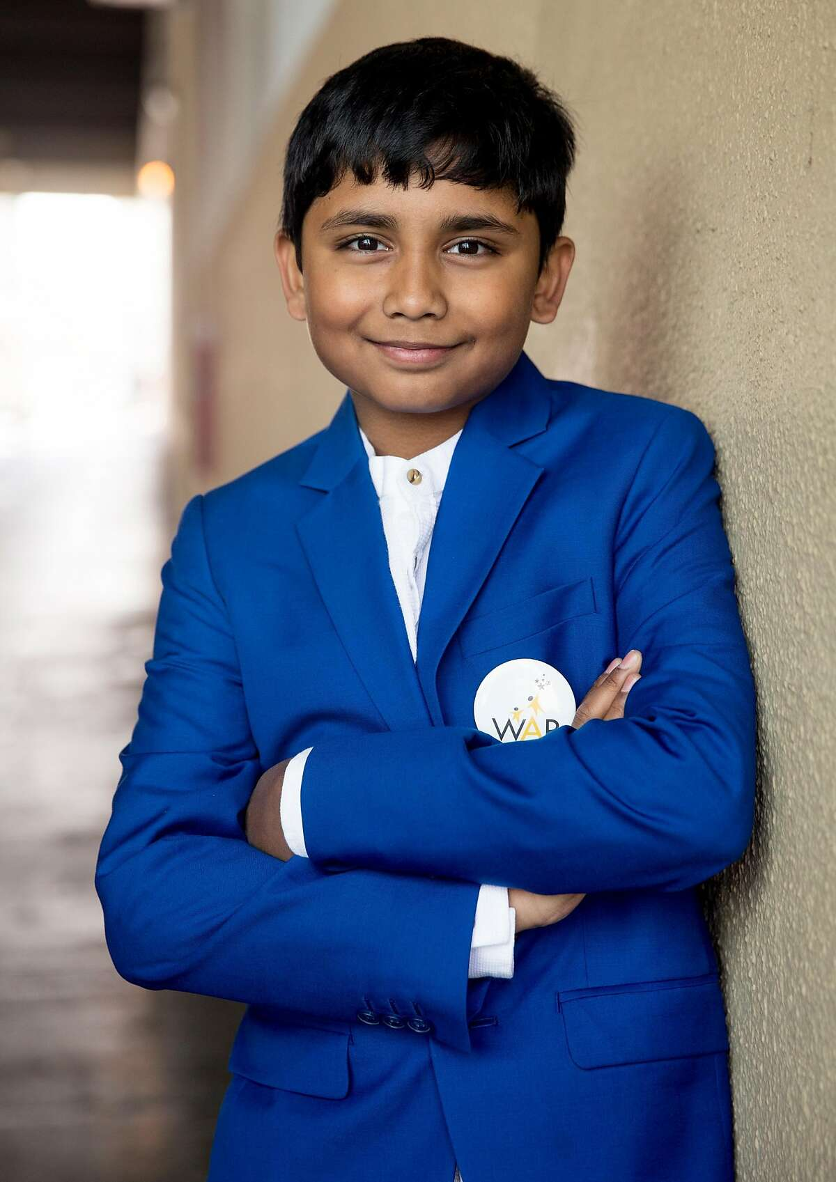 Child singer Yathaarth Murthy of India poses for a portrait along 5th Street Friday, April 27, 2018 in San Francisco, Calif.