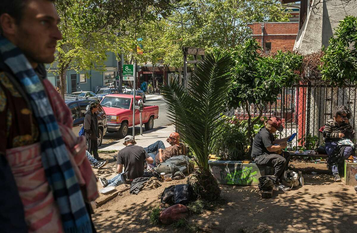 Numerous people lounge in the sun at People's Park in Berkeley, Calif. Tuesday, May 1, 2018