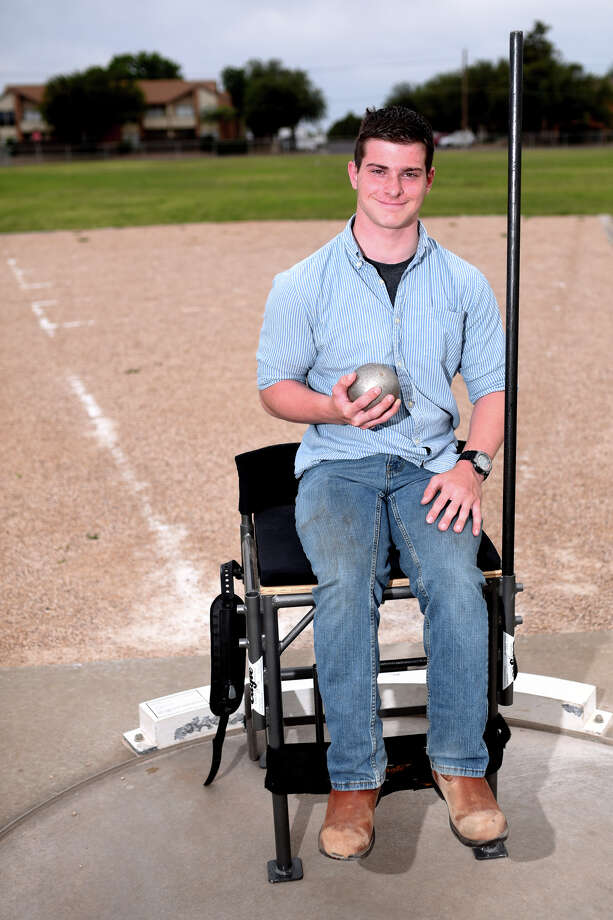 Andrews junior Wyatt Liming, a competitor in the boys shot put wheelchair event, photographed May 2, 2018, in Andrews. James Durbin/Reporter-Telegram Photo: James Durbin