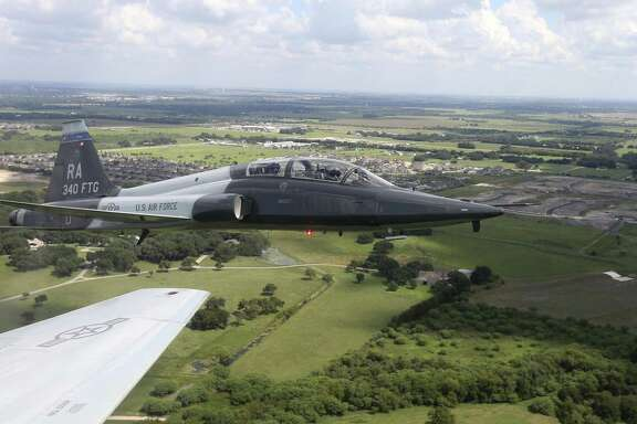 T-38C Talon jets from the 435th Fighter Training Squadron  fly away from San Antonio on a training mission Thursday Sept. 15, 2016