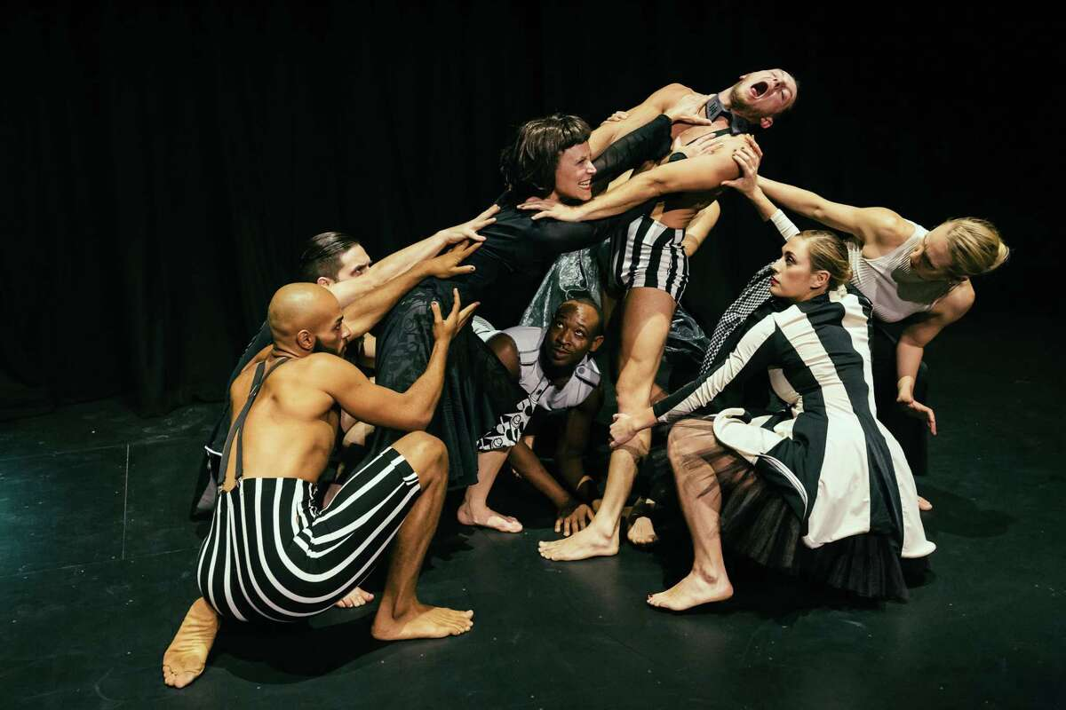 """Annie Arnoult, in black, and members of her Open Dance Project in a scene from """"Dada Gert,"""" about the many personas of the 20th century performance artist Valeska Gert."""