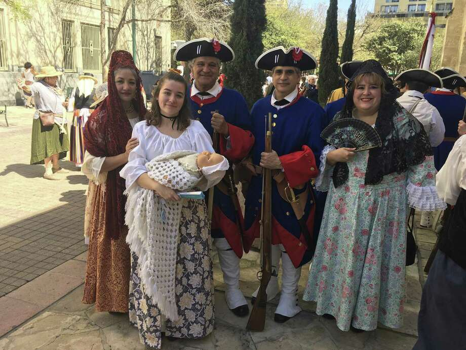La Entrada celebration ceremony at the Spanish Governor's Palace on May 5, 2018, will feature left to right; Jo Anne Gonzalez Murphy, 1718 Martin de Alarcon expedition family member; Sawyer L. Murphy, 1718 Martin de Alarcon; Art C. Martinez, 1718 Martin de Alarcon presidio soldier; Jeff Martinez, 1718 Martin de Alarcon presidio soldier; and Monica Negron, 1718 Martin de Alarcon expedition family member. Each of them are descendants of the actual 1718 Spanish Governor Martin de Alarcon expedition who arrived on May 1, 1718, to officially found San Antonio as a Spanish settlement, mission and presidio. Photo: Courtesy Photo