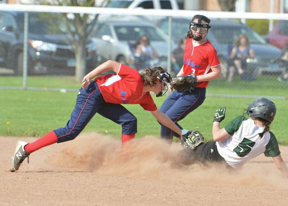 Brien McMahons # 8 Megan Stefanowicz makes the tag at second base on Norwalk's #5 Skyler Suda in softball action on Thursday May 3, 2018 in Norwalk Conn. Photo: Alex Von Kleydorff / Hearst Connecticut Media / Norwalk Hour