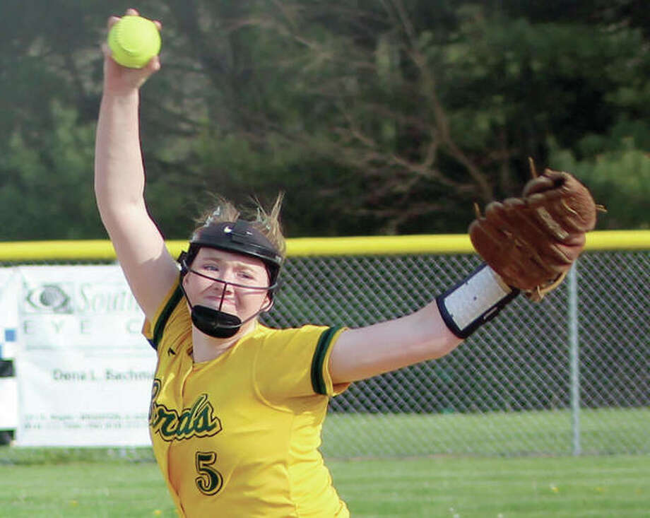 Southwestern pitcher Bailee Nixon delivers to the plate during Tuesday's South Central Conference game against Jersey in Piasa. The Miners' 5-0 victory halted Southwestern's 13-game winning streak. Photo:     Greg Shashack | The Telegraph
