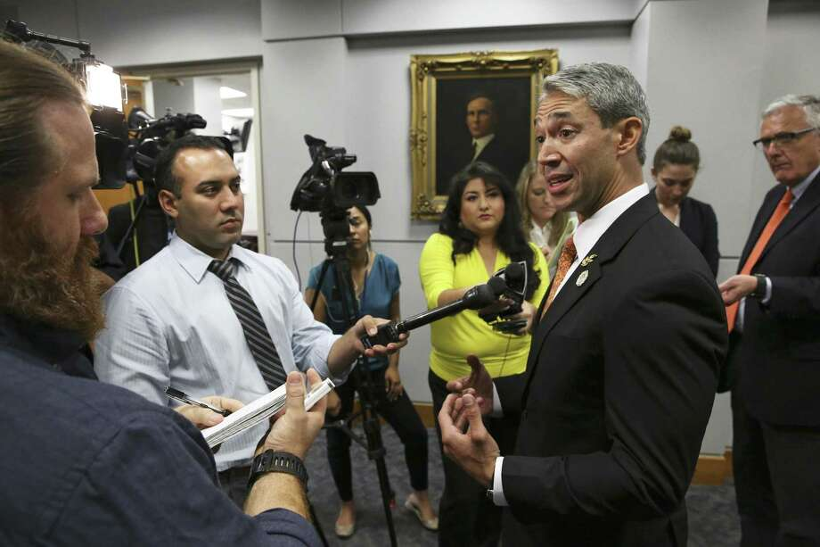 Mayor Ron Nirenberg answers questions after the City council goes behind closed doors to debate the issue of the possible RNC 2020 convention in San Antonio on May 3, 2018. Photo: Tom Reel, Staff / San Antonio Express-News / 2017 SAN ANTONIO EXPRESS-NEWS