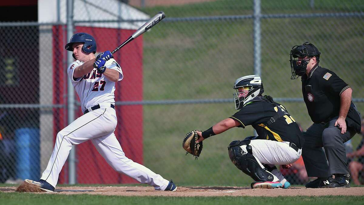 Foran junior Justin DeEll at bat against Hand, Thursday, May 3, 2018, at Ken Walker Field at Foran High School in Milford. DeEll had three hits propelling the Lions to a 14-8 win.