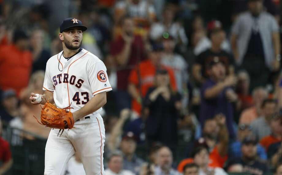 Houston Astros starting pitcher Lance McCullers Jr. (43) after taggng New York Yankees Miguel Andujar out at home during the second inning of an MLB game at Minute Maid Park, Thursday, May 3, 2018, in Houston. ( Karen Warren  / Houston Chronicle ) Photo: Karen Warren/Houston Chronicle