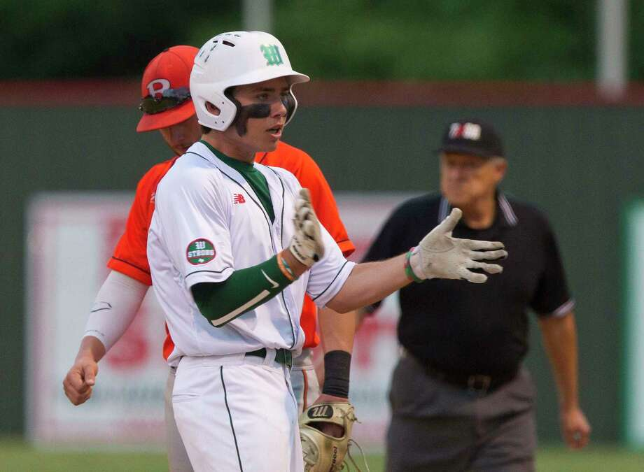 Casey Sunseri #3 of The Woodlands reacts after hitting a single during the third inning of a Region II-6A bi-district playoff game, Thursday, May 3, 2018, in The Woodlands. Photo: Jason Fochtman, Staff Photographer / © 2018 Houston Chronicle