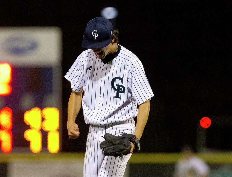 College Park starting pitcher Brandon Garza (3) reacts after striking out back-to-back batters to get out of a bases loaded jam in the fifth inning of a Region II-6A bi-district playoff game, Thursday, May 3, 2018, in The Woodlands. Photo: Jason Fochtman, Staff Photographer / © 2018 Houston Chronicle