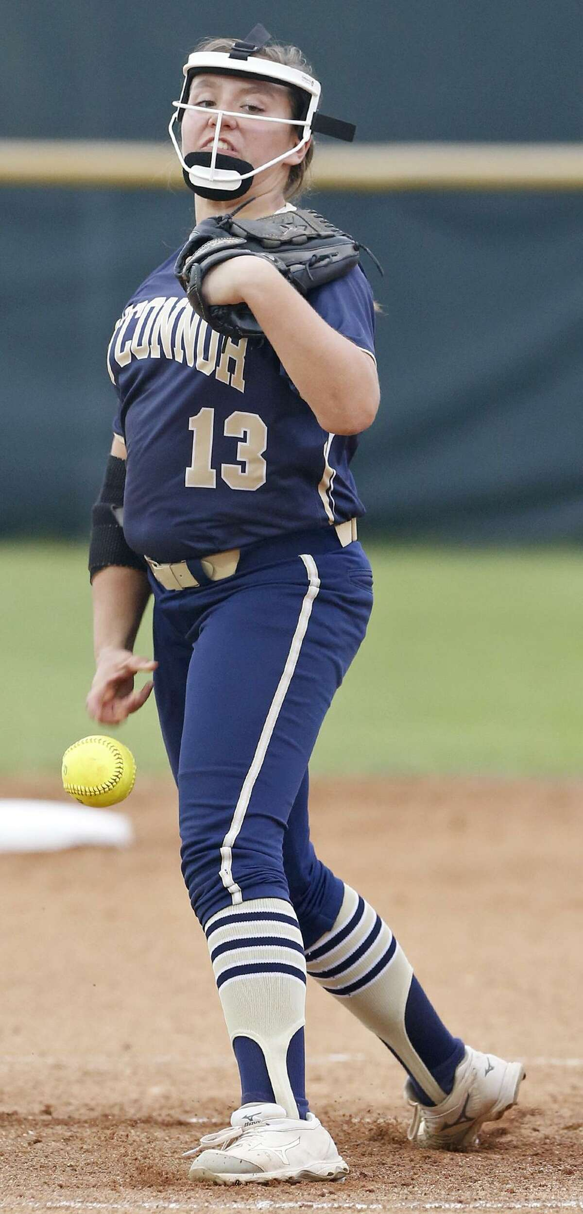 O'Connor's Rebecca O'Connor pitches against Johnson during their Class 6A second-round series held Thursday May 3, 2018 at Northside ISD Field No. 1.