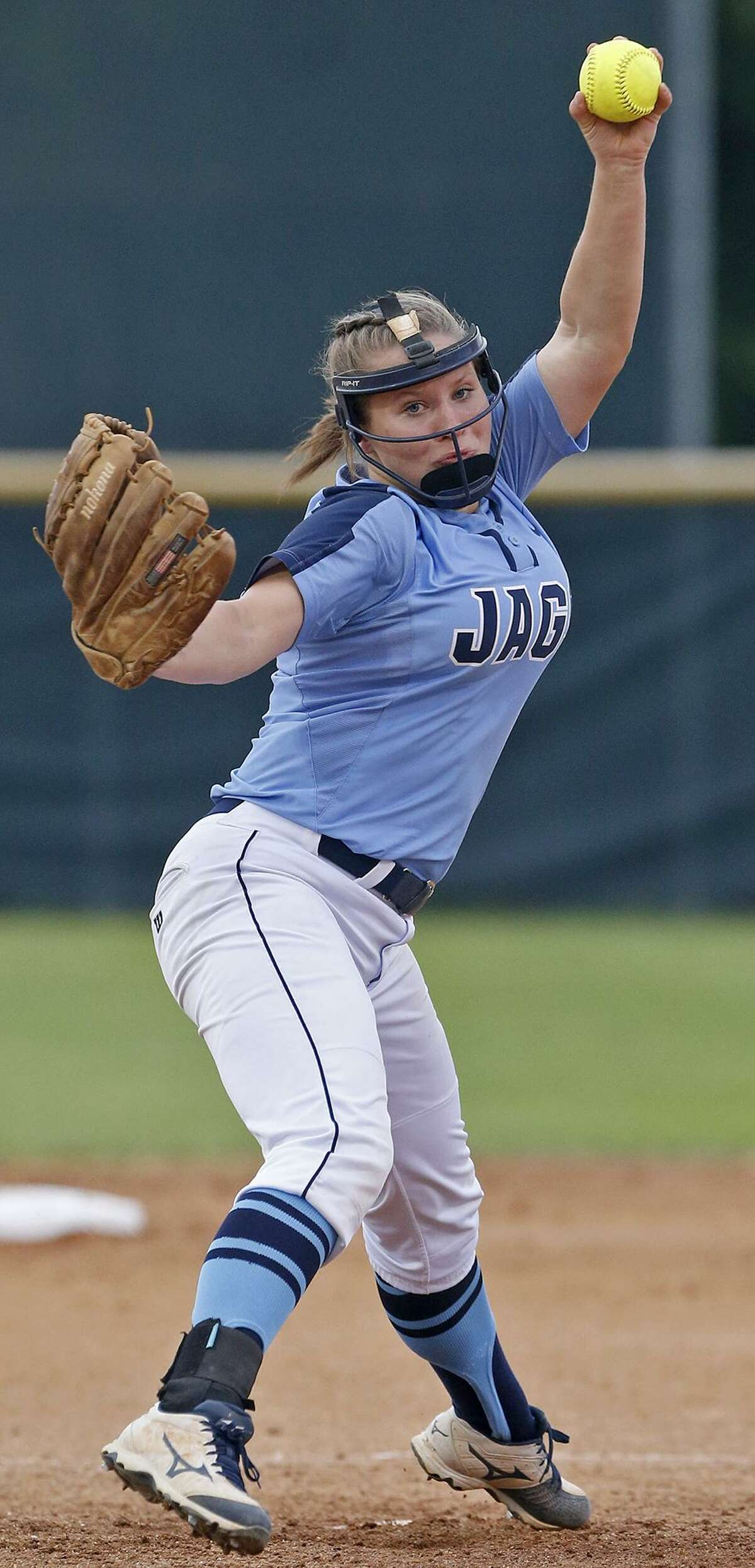 Johnson's Kailey Brown pitches against O'Connor during their Class 6A second-round series held Thursday May 3, 2018 at Northside ISD Field No. 1.