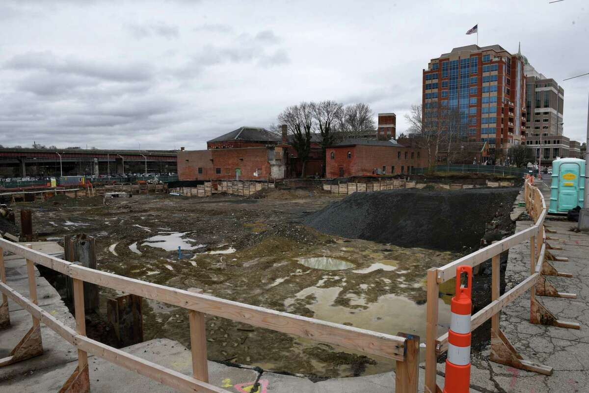 The foundation for the Quackenbush Square makeover at at 705 Broadway is dug on Monday, April 30, 2018, in Albany, N.Y. The $21 million project by Syracuse-based Pioneer Companies ncludes three, 7- to 10-story residential buildings that can accommodate about 181 units, a 136-room hotel, and about 24,548 square feet of ground-level retail space situated around an urban plaza and over an underground parking structure are planned for the site. About half of the retail space is expected to be restaurants, according to project documents. (Will Waldron/Times Union)
