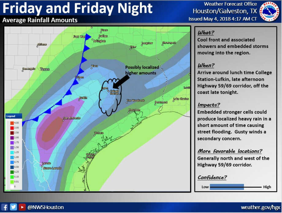 Rain and thunderstorms are in Houston's forecast for Friday, April 4 and Saturday, April 5, 2018. Sunshine is expected to return on Sunday, April 5.See record-setting weather days in Texas up ahead. Photo: National Weather Service
