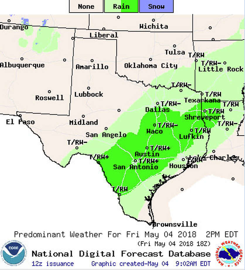The National Weather Service map shows the forecast for Texas for Friday starting at 2 p.m. Photo: National Weather Service