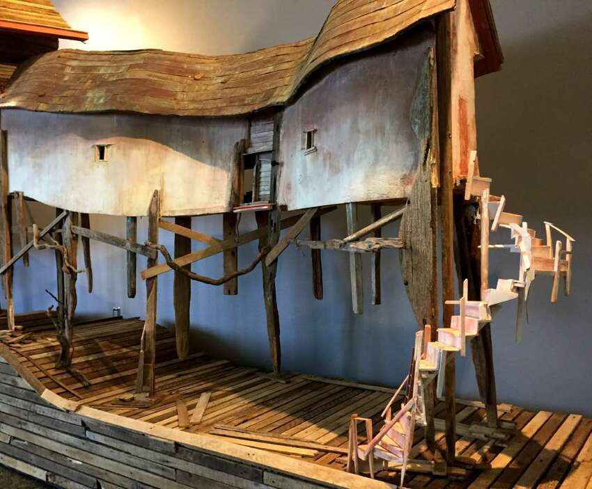 Migration House image (and details): Migration House, Robert Hite, reclaimed wood and metal, 2007-2017