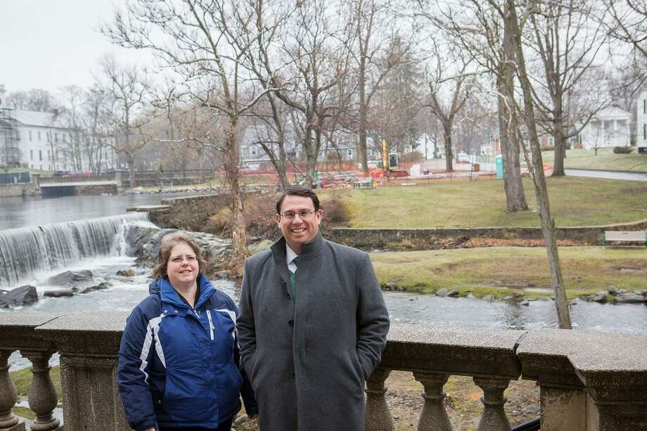 Milford Inland/Wetlands official Mary Rose Palumbo and Mayor Ben Blake stand in front of the duck pond near City Hall to talk about its dredging, alng with two other ponds. Photo: Pam McLoughlin / Photo Contributed By City Of Milford