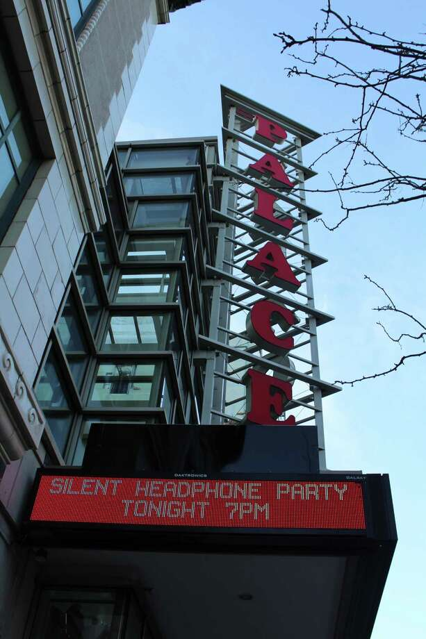 "The Palace Theater last Thursday, April 26, 2018,  hosted the city's first ""silent disco"" event to raise money for its arts education programs. Organizers plan to hold another party on the stage in June. Photo: Barry Lytton / Hearst Connecticut Media / Stamford Advocate"