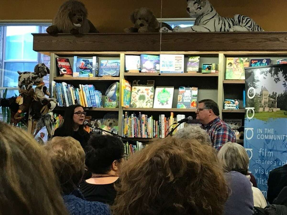 Author Lorrie Moore, left, in a conversation with WAMC's Joe Donahue at the Northshire Book Store. (Provided, photo by Zoe McGuire)