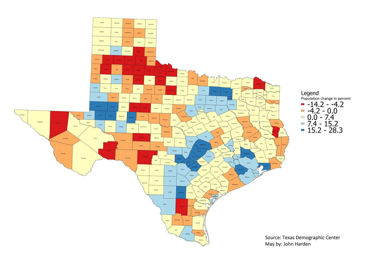 Preliminary population estimates for Texas counties for July 1, 2016 show a continuing trend of urban centers growing, and rural areas declining -- or not growing as fast. SOURCE: Texas Demographic Center MAP: John Harden