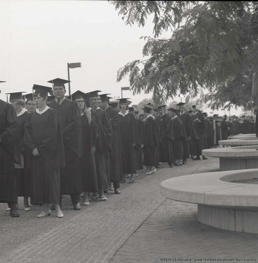 Graduating students lined up prior to spring commencement on June 8, 1968. Photo:       For The Telegraph