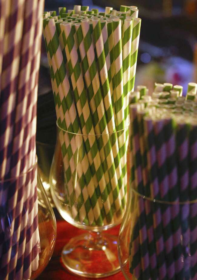 Colorful paper straws at a San Francisco restaurant that uses paper straws in their drinks. Photo: Michael Macor / The Chronicle / ONLINE_YES