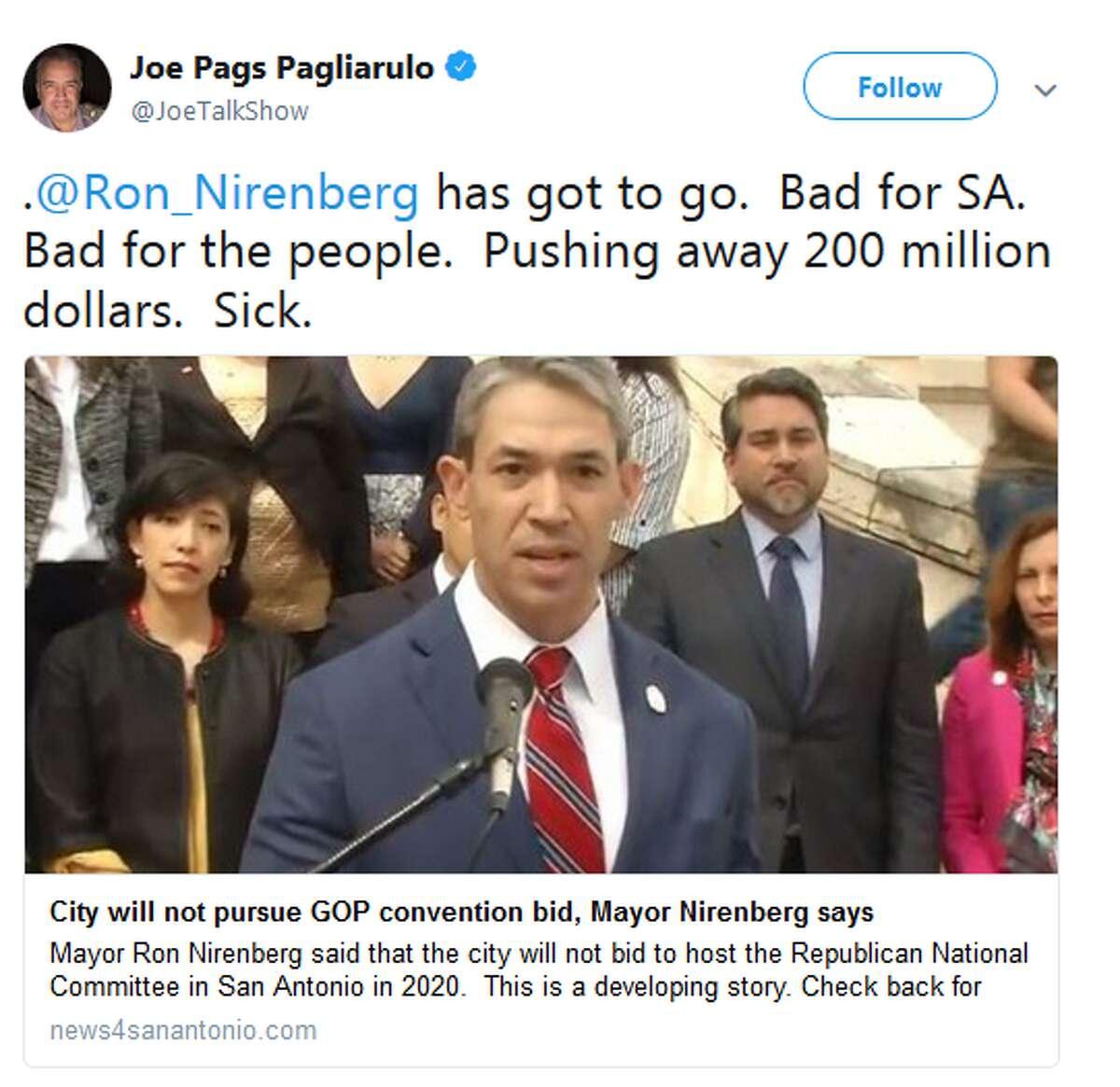 @JoeTalkShow: .@Ron_Nirenberg has got to go. Bad for SA. Bad for the people. Pushing away 200 million dollars. Sick.