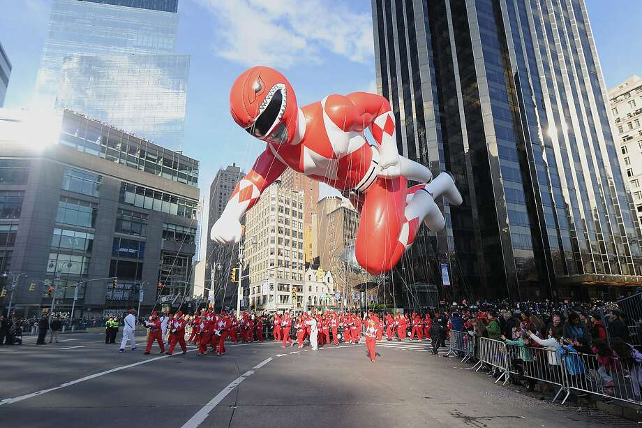 NEW YORK, NY - NOVEMBER 26:  Go Go Power Rangers! Entertaining fans of all ages for more than 22 years, the Red Mighty Morphin Power Ranger harnesses his power for the 89th Annual Macys Thanksgiving Day Parade on Thursday, November 26, 2015 in New York City.  (Photo by Brad Barket/Getty Images for Saban Brands) Photo: Brad Barket, Getty Images For Saban Brands