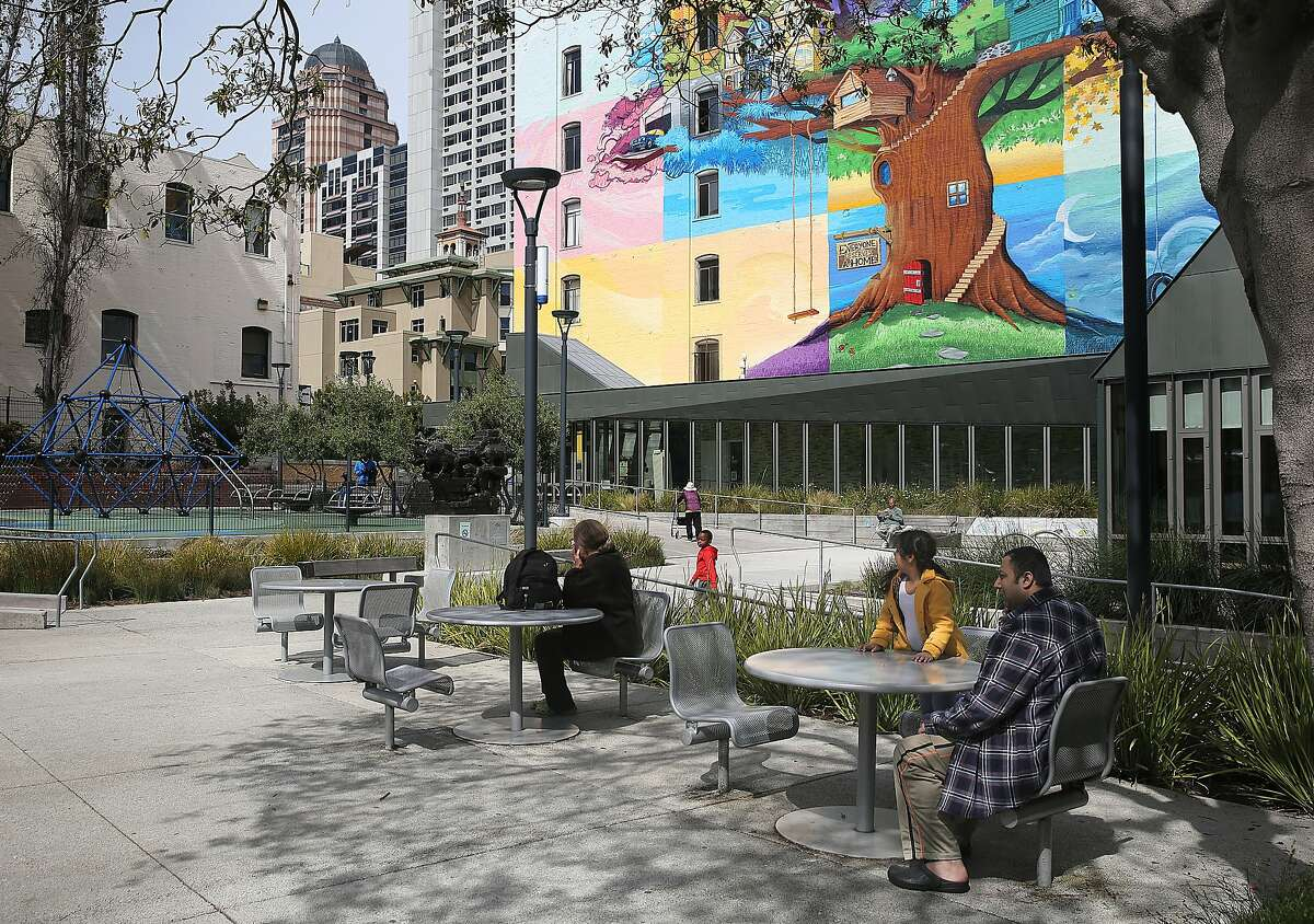 Tables and chairs seen at Father Alfred E. Boeddeker Park seen on Tuesday, March 22, 2016, in San Francisco, California. Proposition 68, a statewide water and parks bond on the June ballot, also refurbishes urban parks.