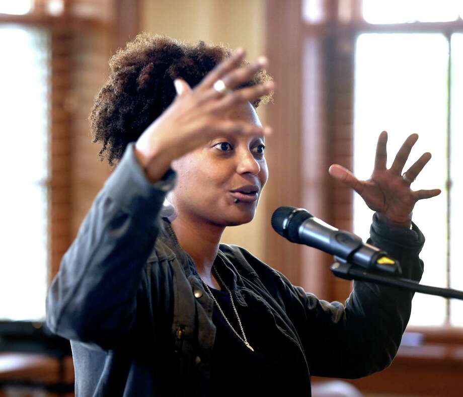 United States Poet Laureate Tracy K. Smith speaks with students at Hopkins School in New Haven Friday. Photo: Arnold Gold / Hearst Connecticut Media / New Haven Register