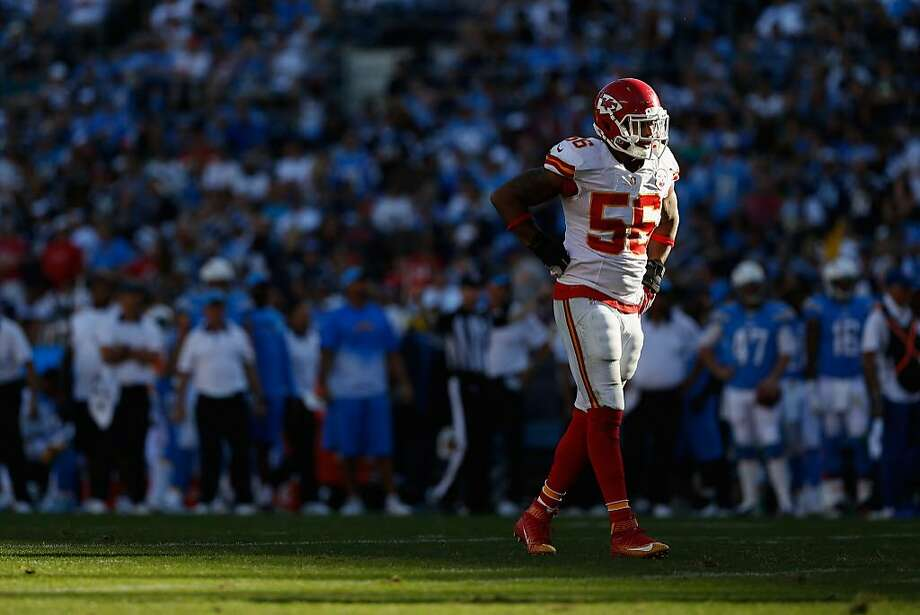 SAN DIEGO, CA - NOVEMBER 22: Derrick Johnson #56 of the Kansas City Chiefs walks on the field during the second half of a game agains the San Diego Chargers at Qualcomm Stadium on November 22, 2015 in San Diego, California. (Photo by Sean M. Haffey/Getty Images) Photo: Sean M. Haffey / Getty Images