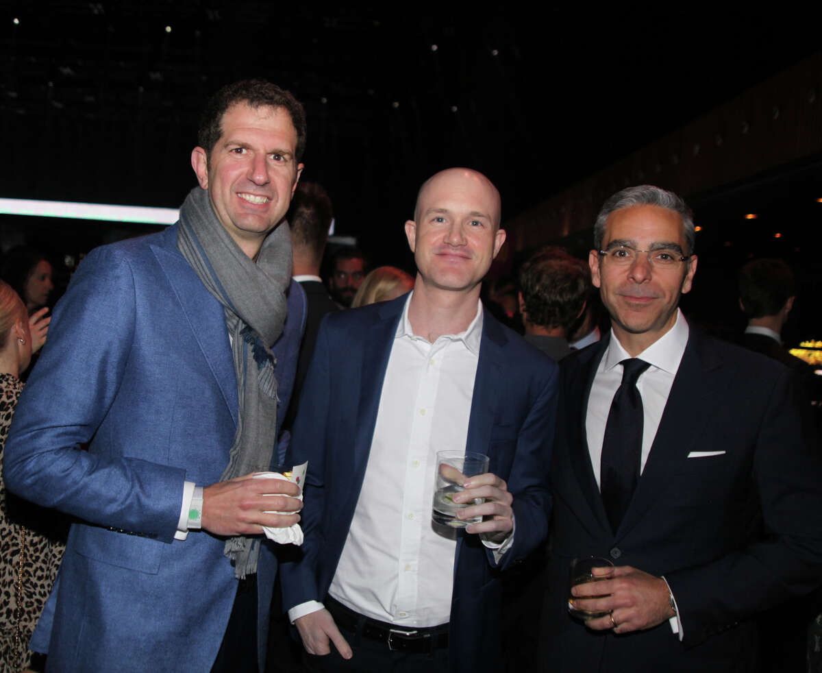 Micky Malka of Ribbit Capital, Coinbase's Brian Armstrong and David Marcus of Facebook.
