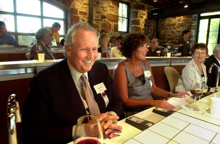 RUDD16105_cl.jpg The new Rudd Center for Professional Wine Studies during it's official opening in its' new home, the renovated and seismically retrofitted Still House at Greystone (C.I.A.) in St. Helena, built in the late 19th century. Photo of Leslie Rudd (left) sitting in the sensory evaluation classroom. Next to him to the right is his daughter, Susan Rudd. Event on 10/9/03 in St. Helena. CRAIG LEE / The Chronicle