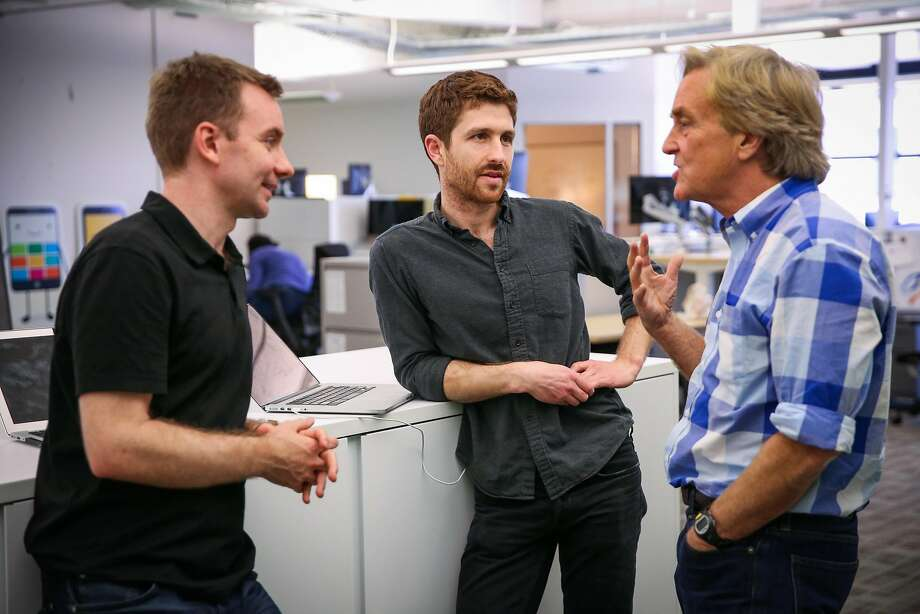 Tristan Harris (center), co-founder of the Center for Humane Technology, chats with Sandy Parakilas (left) and Jim Steyer ahead of a board meeting in San Francisco in April. Steyer is the CEO of the San Francisco nonprofit Common Sense Media. Photo: Gabrielle Lurie / The Chronicle