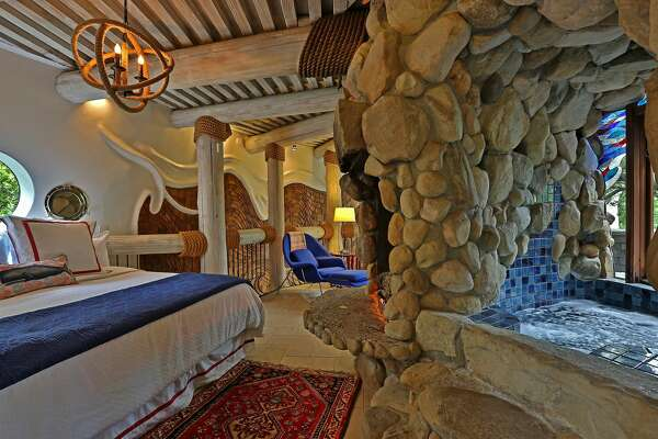 The so-called  Whale House  in Santa Barbara's Mission Canyon is available as a vacation rental. The layered shingled interior resembles a whale.