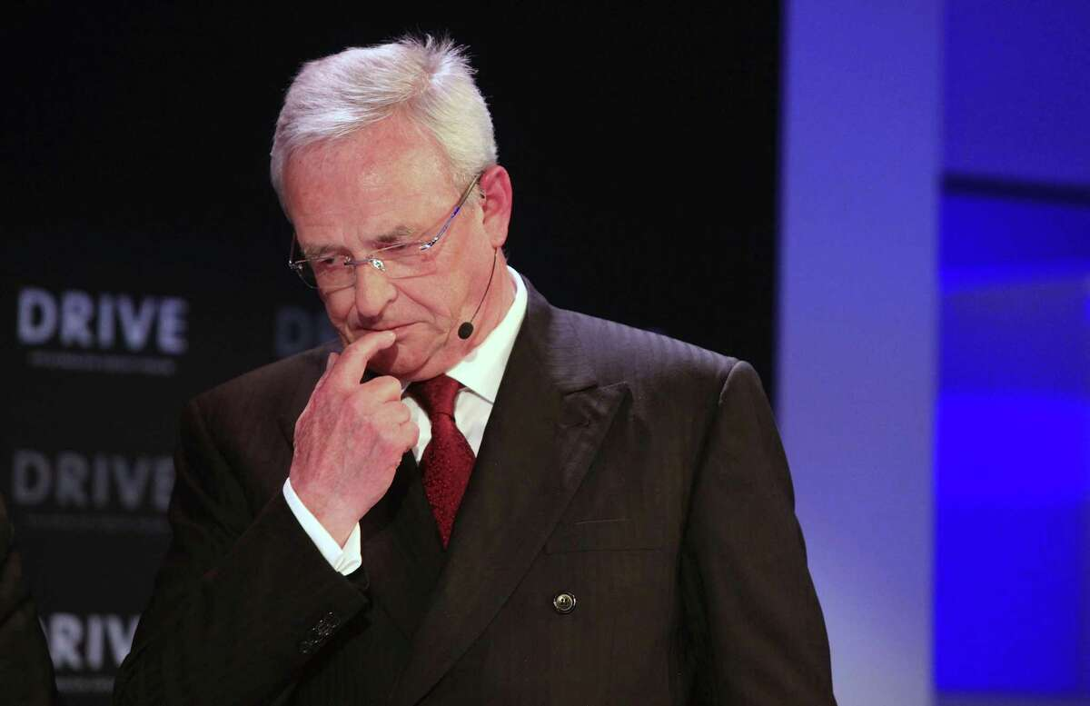 FILE: Martin Winterkorn, chief executive officer of Volkswagen AG (VW), pauses during the re-opening of a VW showroom in Berlin, Germany, on Tuesday, April 28, 2015. Winterkorn, Volkswagen AG?'s former Chief Executive Officer was charged in a Michigan federal court with conspiracy and wire fraud in relation to a probe into the German automaker?'s efforts to cheat U.S. diesel emissions testing, according to an indictment unsealed Thursday. Our editors select the best archive images of Winterkorn. Photographer: Krisztian Bocsi/Bloomberg