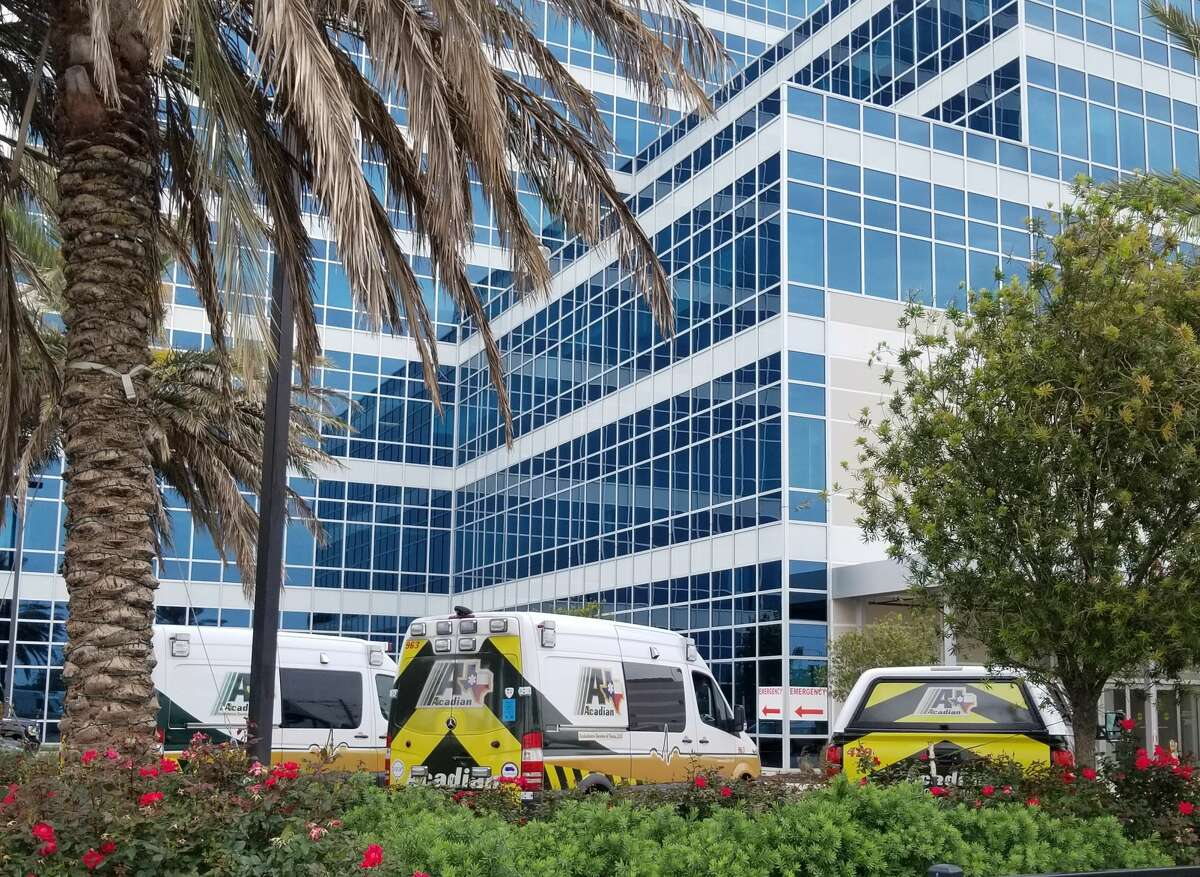 Ambulances wait outside the Bay Area Regional Medical Center emergency room on Friday, May 4, 2018. Hospital CEO Stephen K. Jones, Jr. said in an email to employees that local EMS crews would begin moving the hospital's patients to other facilities.