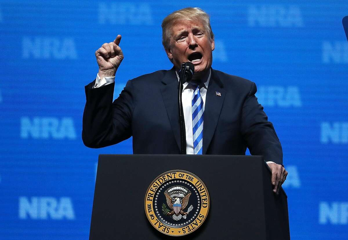 DALLAS, TX - MAY 04: U.S. President Donald Trump speaks at the NRA-ILA Leadership Forum during the NRA Annual Meeting & Exhibits at the Kay Bailey Hutchison Convention Center on May 4, 2018 in Dallas, Texas. The National Rifle Association's annual meeting and exhibit runs through Sunday. (Photo by Justin Sullivan/Getty Images)