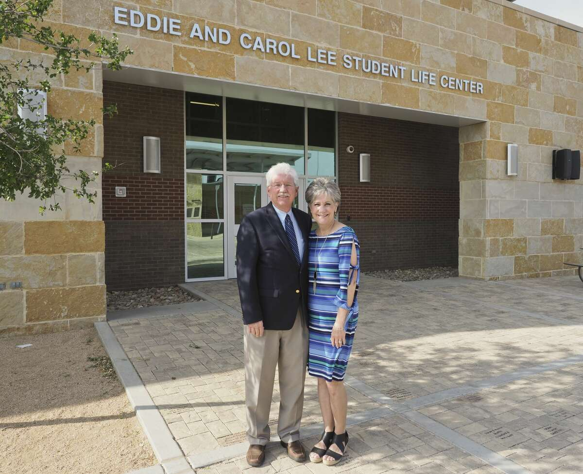 Eddie and Carol Lee, outside the newly named student life center on Midland Christian campus. 04/30/18 Tim Fischer/Reporter-Telegram