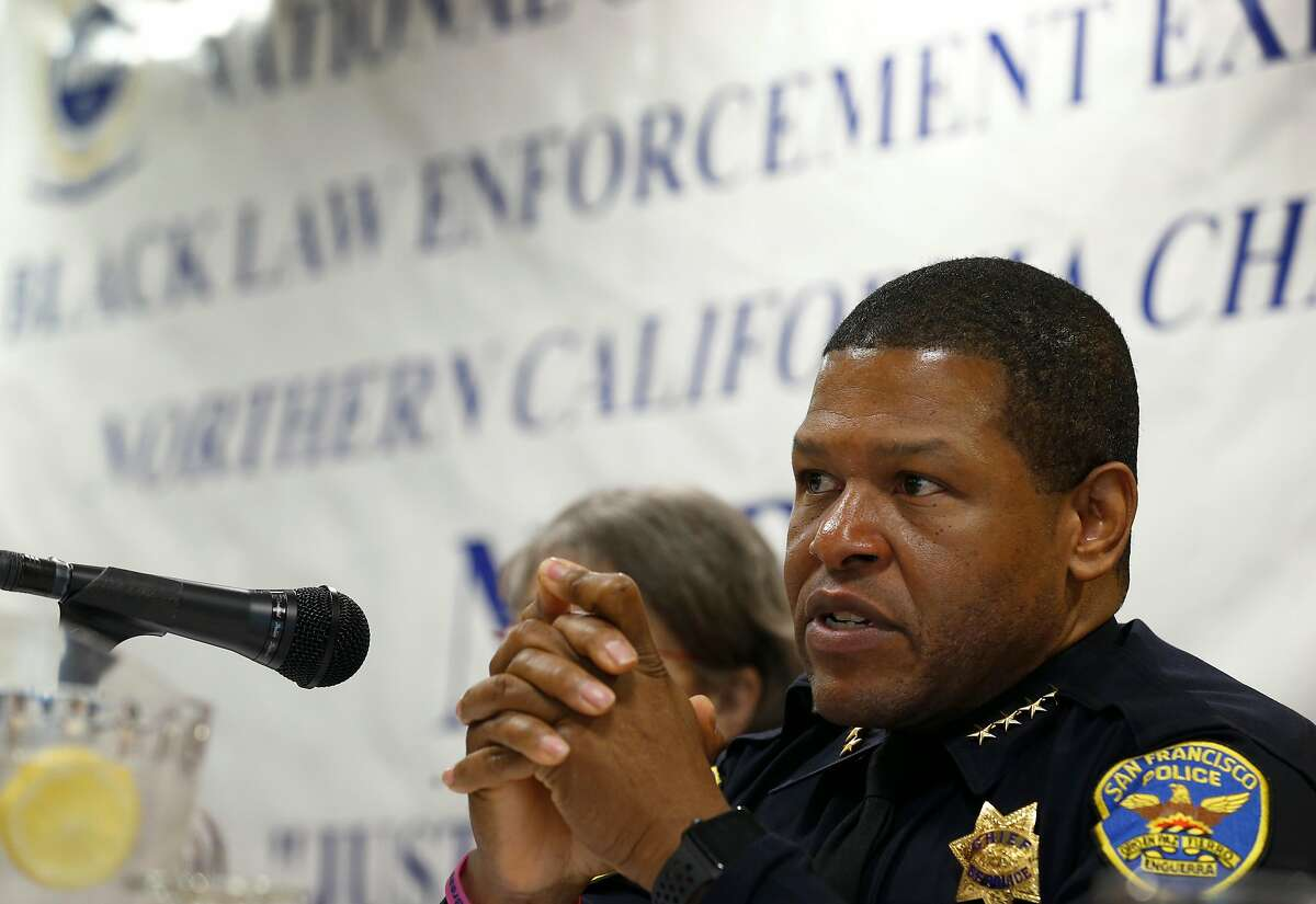 San Francisco police chief Bill Scott appears on a panel for a discussion on officer involved shootings at a meeting of the Northern California chapter of the National Organization of Black Law Enforcement Executives in Oakland, Calif. on Friday, April 13, 2018.