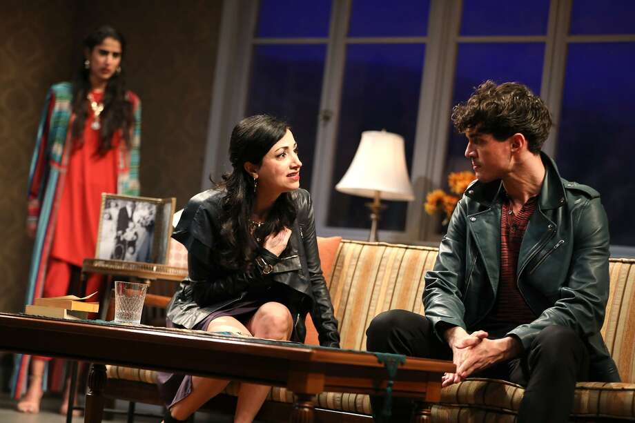 Sohina Sidhu (background), Hend Ayoub and James Cusati-Moyer in the Yale Rep drama. Photo: Joan Marcus / Yale Rep / Joan Marcus