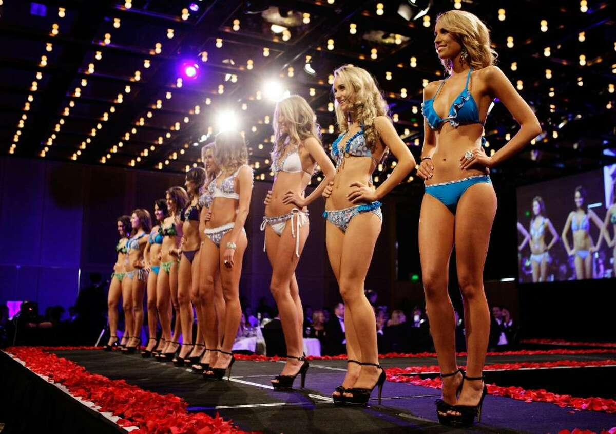 SYDNEY, AUSTRALIA - JUNE 17: The final 10 contestants parade the catwalk during the official crowning ceremony for Miss Universe Australia 2010 at the Sofitel Wentworth Hotel on June 17, 2010 in Sydney, Australia. (Photo by Brendon Thorne/Getty Images)