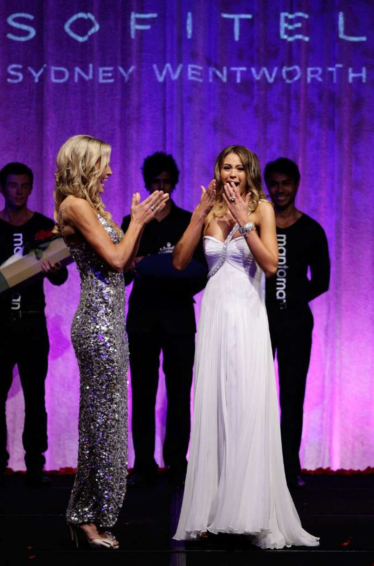 SYDNEY, AUSTRALIA - JUNE 17: Finalist Jesinta Campbell (R) of NSW celebrates with runner up Renae Wauhop (L) of Western Australia after being announced winner at the official crowning ceremony for Miss Universe Australia 2010 at the Sofitel Wentworth Hotel on June 17, 2010 in Sydney, Australia. (Photo by Brendon Thorne/Getty Images) *** Local Caption *** Jesinta Campbell;Renae Wauhop